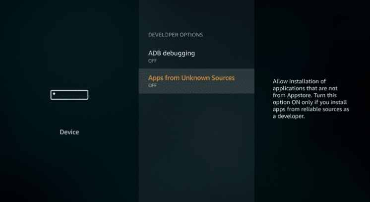 enabling apps from unknown sources to get the cyberflix tv apk on Firestick